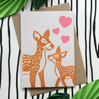 Mother's Day Card Fawn and Doe. Hand Made & Printed Linocut Greetings Card