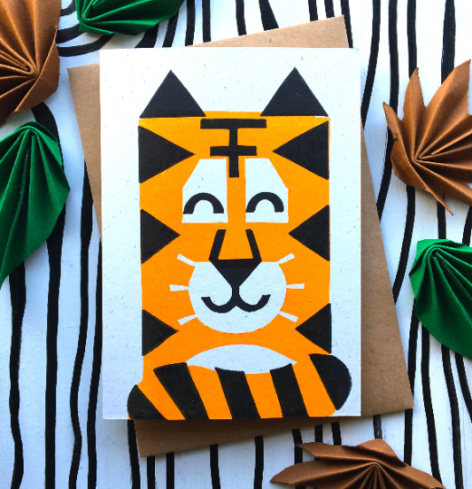 Linocut Animal Card. Tiger Card. Birthday Card. Wildlife Card. Eco-friendly Card