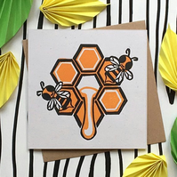 Linocut Animal Card. Bee Card. Birthday Card. Wildlife Card. Eco-friendly Card