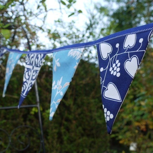Folk Hearts Blue and Turquoise Bunting