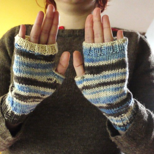 Random Stripe: handknit fingerless mitts