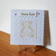 Bear christening card