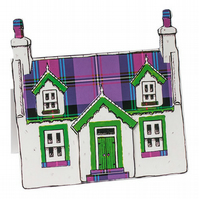 Pop up Cottage Card - Purple Tartan