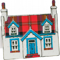 Pop-up Cottage Card - Red Tartan