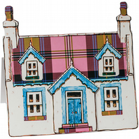 Pop up Cottage Card - Pink Tartan