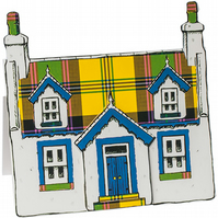 Pop up Cottage Card - Yellow Tartan