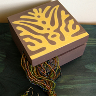 Yellow ochre hand-painted wooden box