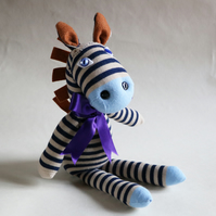 Handmade Zebra soft sock toy, unique personalised baby or toddler gift