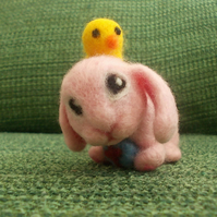 Needle Felted Pink Bunny & Chick