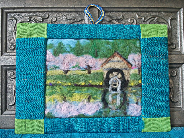 Needle Felted Hanging Picture: Mill By The River
