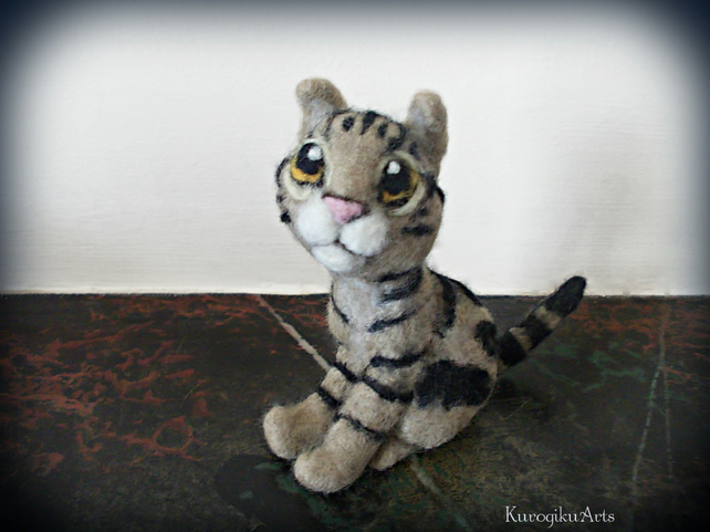 Needle Felted Brown Tabby Cat