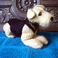 Needle Felted Airedale Terrier: Lying Down Stance