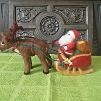 Needle Felted Santa's Special Delivery