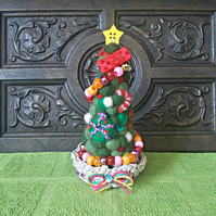 Needle Felted Christmas Tree In Hemp Basket