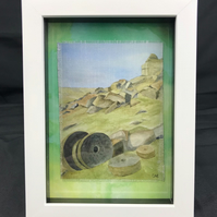 Framed Derbyshire Millstone Watercolour Textile Picture