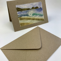 Wave Watercolour Textile Greetings Card