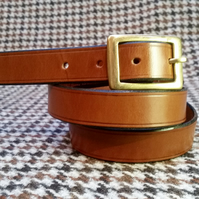 "TRADITIONALLY HAND STITCHED TAN ENGLISH LEATHER BELT 34"" SOLID BRASS. Handmade"