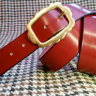 "Traditionally hand stitched English leather red belt 34"" waist"