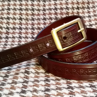 "Hand stitched and embossed mahogany leather belt 32""waist uk materials"
