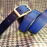"Traditionally hand stitched Blue belt made from English leather 34"" waist"