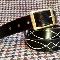 Traditionally hand stitched black, English leather belt
