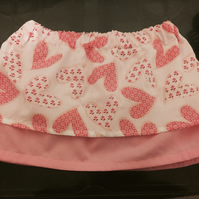 Pink and white cotton elasticated skirt