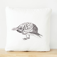 Bird Brain, Hand Made, Screen Printed Cushion