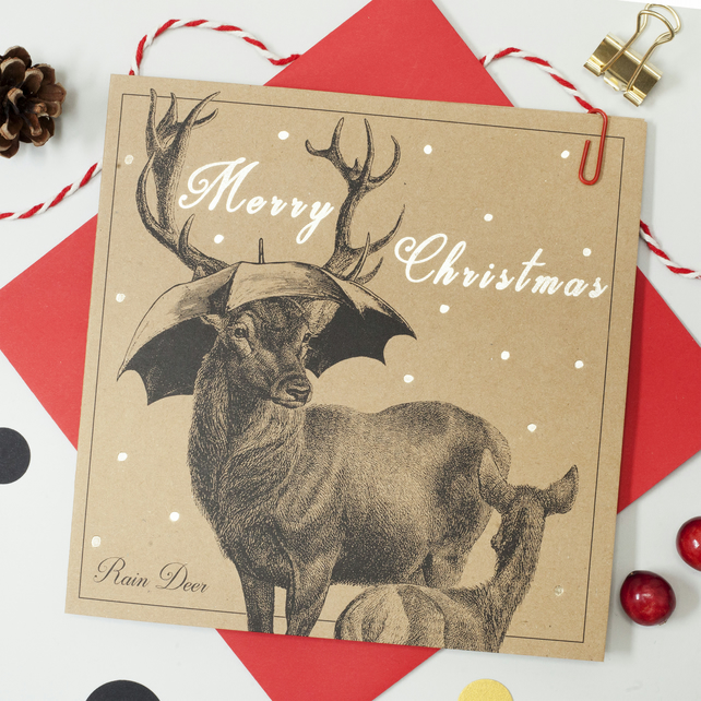 Raindeer funny Christmas card with gold foiling