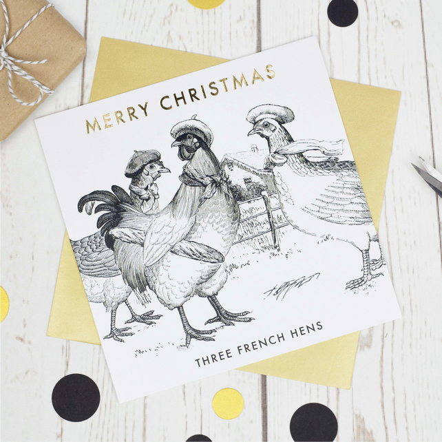 Luxury Christmas card, Three French Hens, Xmas cards, funny christmas card