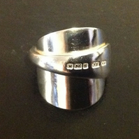 Handmade Upcycled Sterling Silver Vintage Cutlery From 1910 -Spoon Ring - Size V
