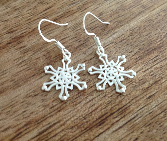 Handcrafted Snowflake Drop Earrings