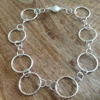 Handcrafted Circles Sterling Silver Choker Necklace