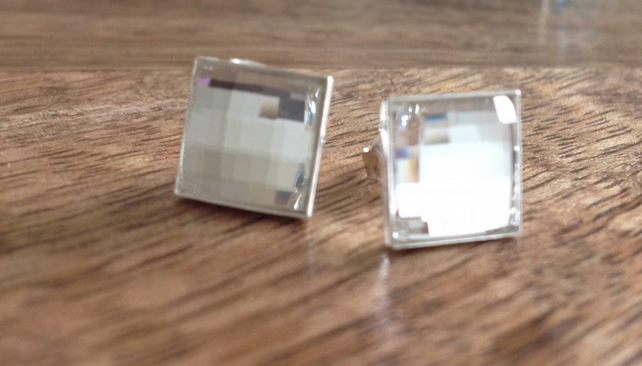 Square Swarovski Crystal Stud Earrings - White, Silver Earrings, Stud Earrings