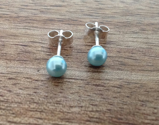 Freshwater Pearl Blue Stud Earrings - 5mm, 5mm Earrings, Stud Earrings