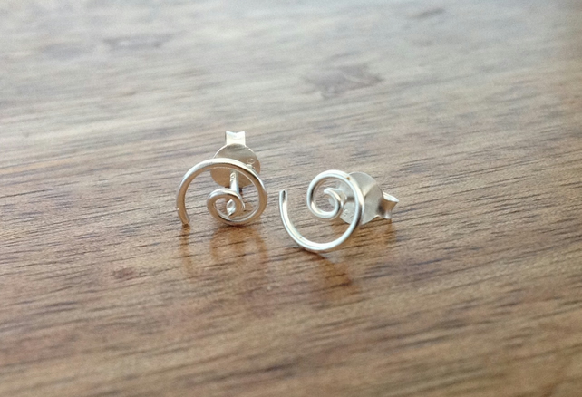 Spiral Sterling Silver Stud Earrings, Silver Spiral, Sterling Silver Jewellery