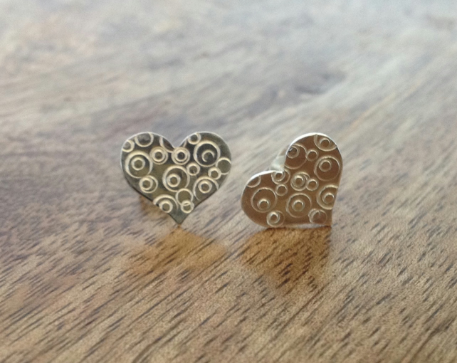 Heart Sterling Silver Stud Earrings, Heart Stud Earrings, Heart Earrings