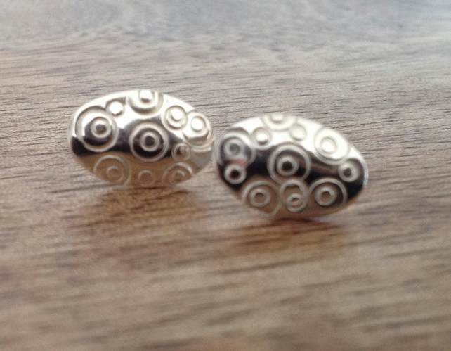 Oval Sterling Silver Stud Earrings, Textured Stud Earrings, Oval Earrings