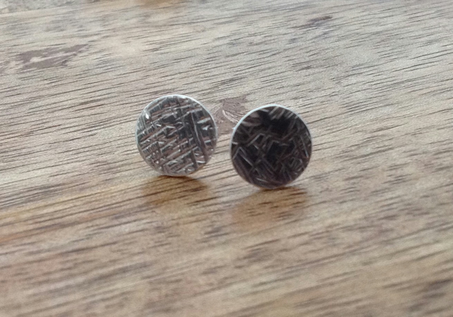 Round Textured Sterling Silver Stud Earrings, Textured Earrings