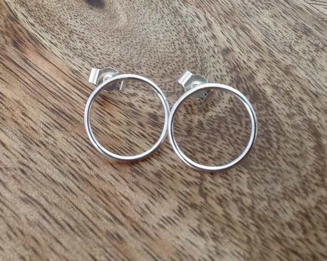 Single Hoop Sterling Silver Earrings, Round Earrings, Hoop Earrings