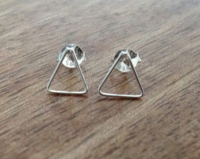 Triangle Sterling Silver Stud Earrings, Sterling Silver Earrings