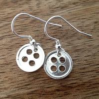Button Sterling Silver Dangle Earrings, Button Earrings, Silver Earrings