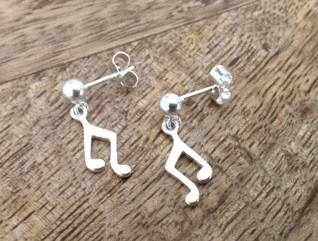 Musical Note - Beamed Note Sterling Silver Stud Earrings, Sterling Silver