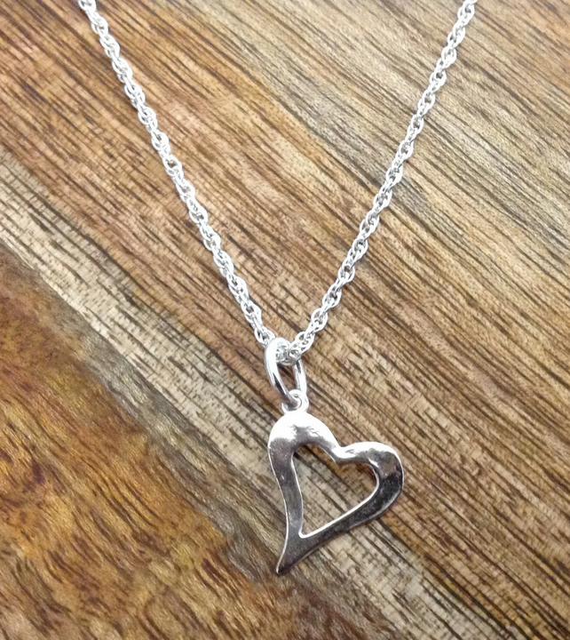Open Heart Sterling Silver Necklace, Silver Heart Necklace, Silver Necklace