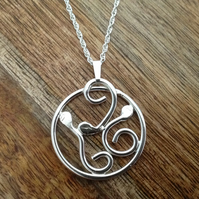 Serpent Sterling Silver Necklace, Silver Jewellery, Snake Necklace