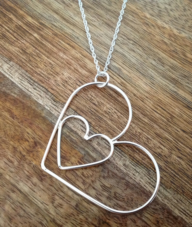 Oversized Heart Sterling Silver Necklace, Heart Necklace, Silver Necklace