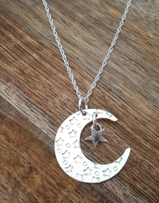 Moon & Star Sterling Silver Necklace, Silver Moon Necklace, Sterling Silver