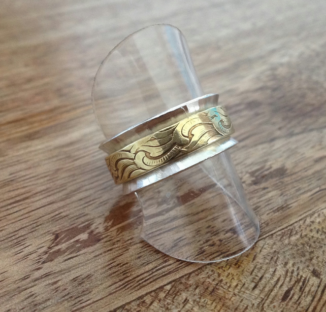 Sterling Silver & Brass Textured Ring - Size Q