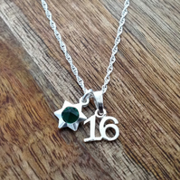 16th Birthday Sterling Silver Necklace, Personalised Necklace, Initial Necklace