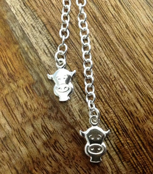 Cow Sterling Silver Necklace, Cow Necklace, Silver Cow Necklace
