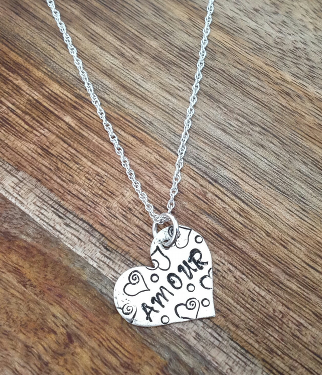Amour Heart Sterling Silver Necklace, Silver Heart, Heart Jewellery